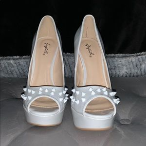 White Studded Peep Toe